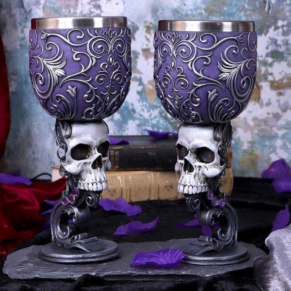 Deaths Desire Weinkelch Set im Barock Stil mit Skulls
