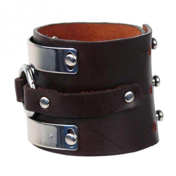 Kunstleder Armband mit O-Ring und Metallplatten