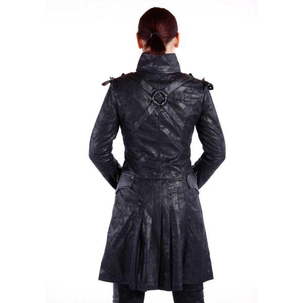 Steampunk Military Mantel in Lederoptik mit Stehkragen