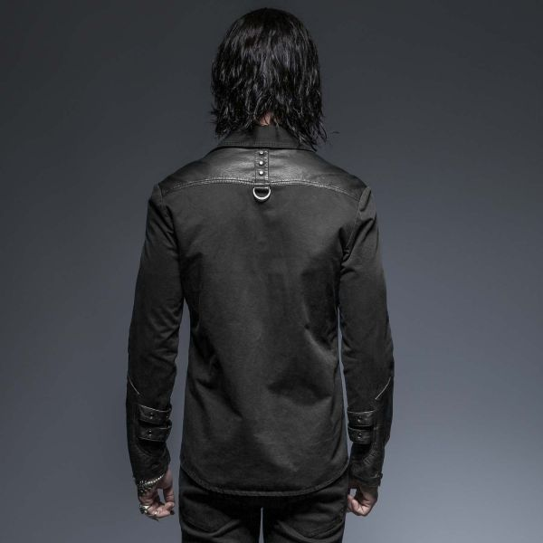 Schwarzes Hemd mit Lederimitat und Nieten