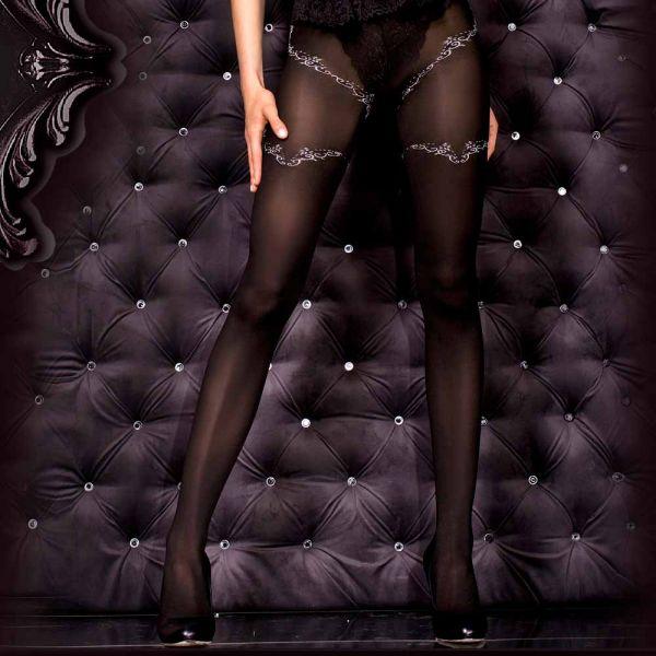 Schwarze Strumpfhose im Burlesque Look mit floralem Muster