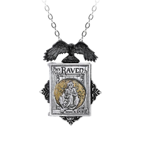 Poes Raven Amulett mit Halskette