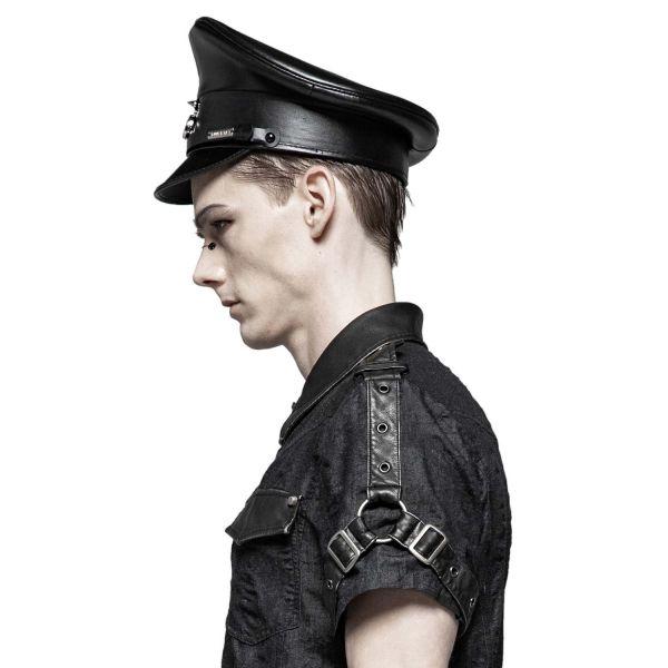 Fetisch Offiziersmütze in Lederoptik mit Lack Schirm