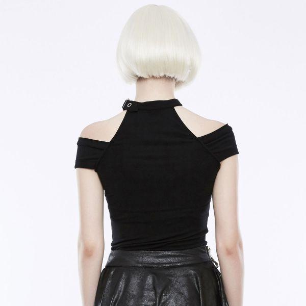 Gothic Style Off-Shoulder Top mit Nietenhalsband