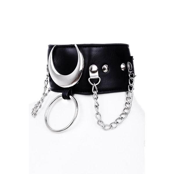 Sklaven Halsband in Lederoptik mit O-Ring und Mond