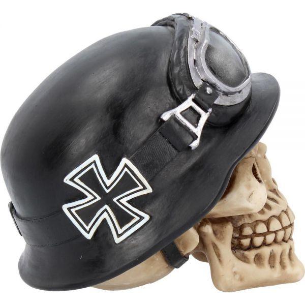 Totenschädel im Biker Look mit Helm und Brille