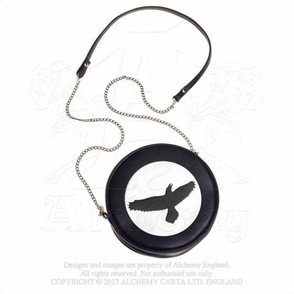Schwarze Lederimitat Handtasche mit schwarzem Raben