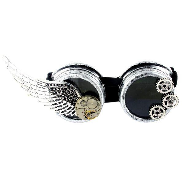 Steampunk Brille im Antik Look mit Flügel und Uhrwerk