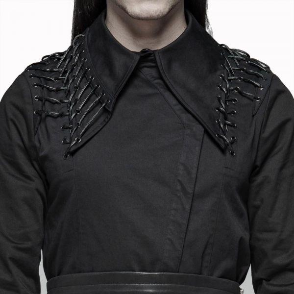 Gothic Mantel Hemd mit Kunstleder Schnürungen