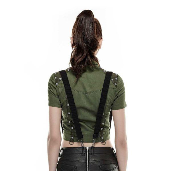 Bluse im Uniform Look mit Nieten bauchfrei olivgrün
