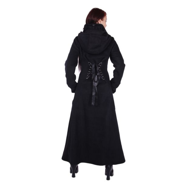 Langer Mantel mit grosser Kapuze & Schnürung - Raven Coat
