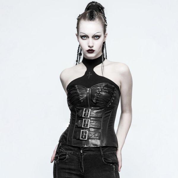 Lederimitat Corsage in extravagantem Nu Goth Look