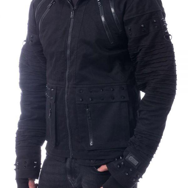 Jacke im Destroyed Look mit Nieten und Oversize Kapuze