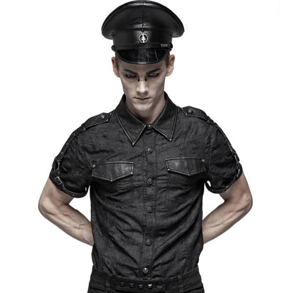 Fetisch Uniform Hemd mit Kunstleder Epauletten