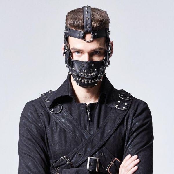 Fetisch Kunstleder Gesichtsmaske mit Nieten