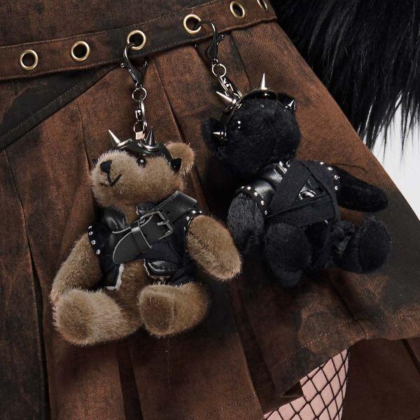 Biker Teddybär mit Lederjacke und Schlüsselring