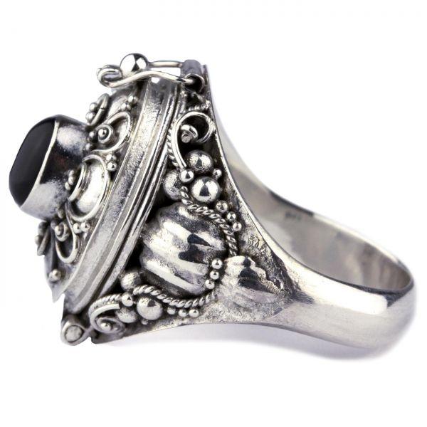 925er Silber Giftring im Antik Look mit Onyx