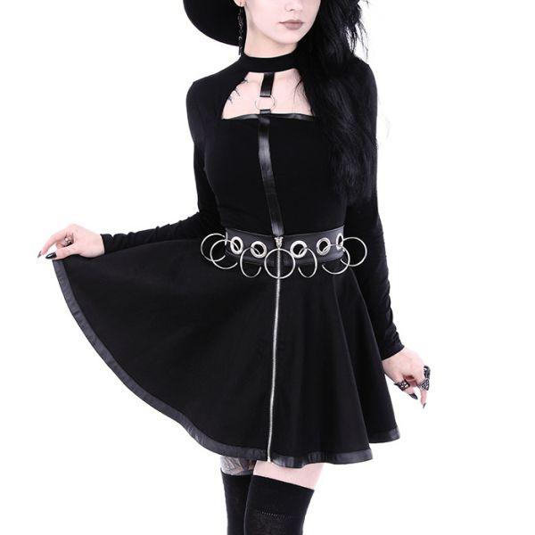 Nu Goth Glockenrock mit Kunstlederbund und O-Ringen