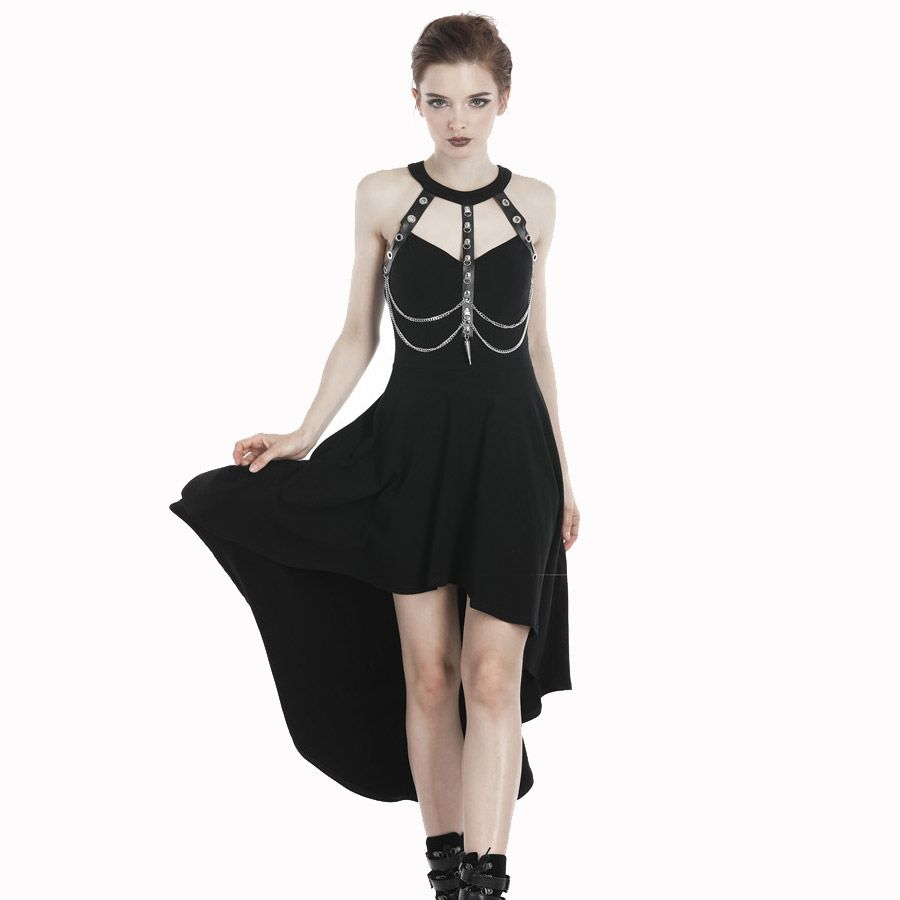 High Low Kleid im Harness Look mit Ketten  VOODOOMANIACS