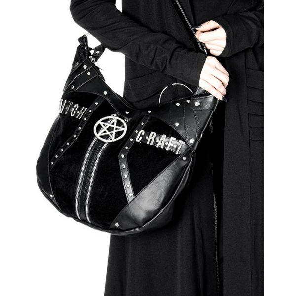 Witchcraft Hobo Bag im Samt Leder-Optik mit Pentagramm