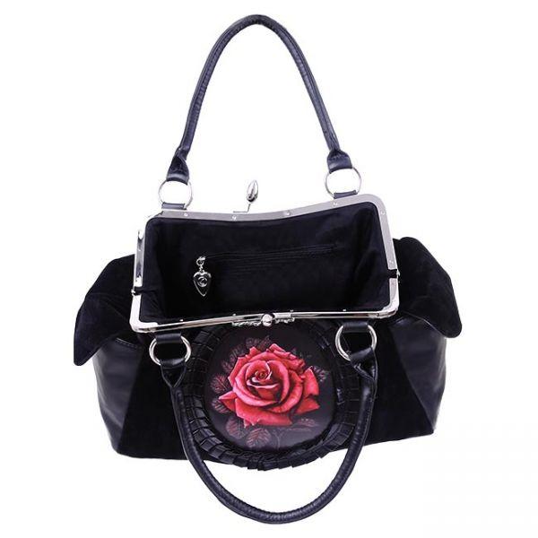 Schwarze Gothic Handtasche mit rote Rosen Ornament