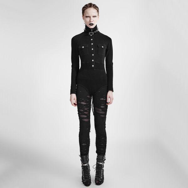 Bodybluse schwarz im Uniform Look mit Stehkragen