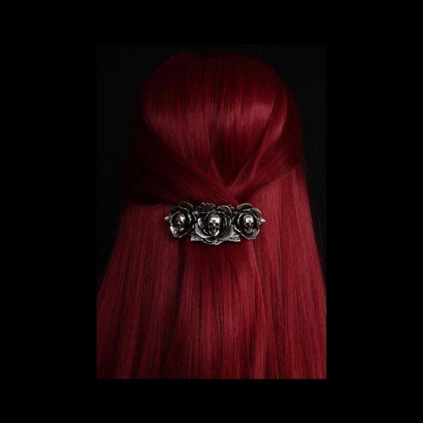 Haarspange Rosenblüten mit Totenköpfen Gothic Style
