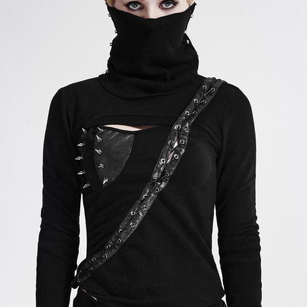 Warrior Girl Shirt mit Schalkragen, Nieten und Schnürung
