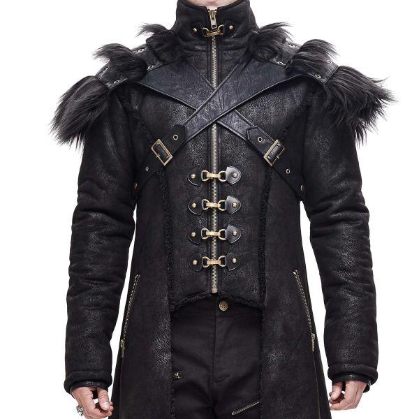 Post Apocalyptic Leder-Look Mantel mit abnehmbarem Harness