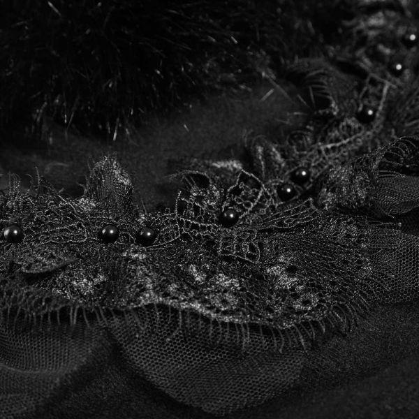 Wintermantel mit Cape und schwarzem Kunstfell