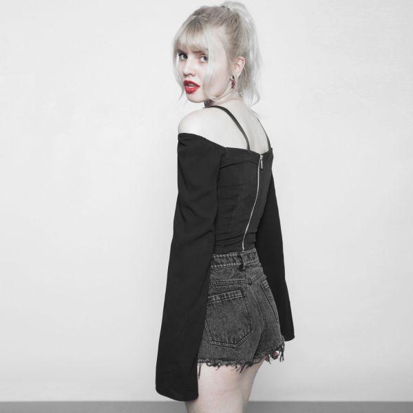 Daily Goth Cold Shoulder Fledermaus Top mit Schnallen