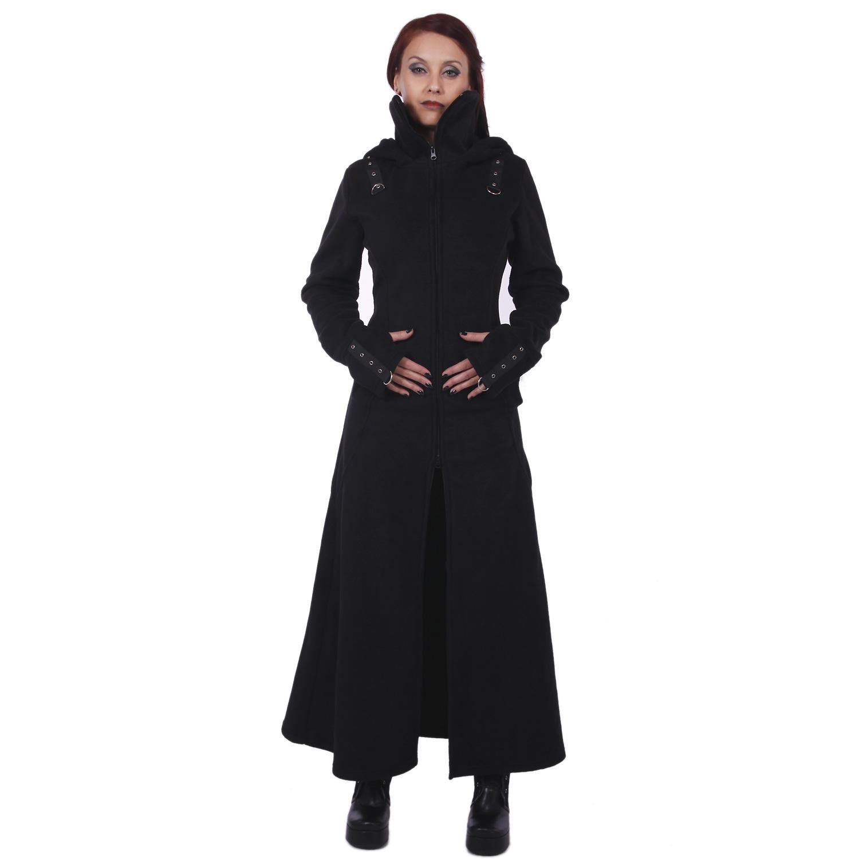 quality design ef75e 831c9 Langer Mantel mit grosser Kapuze & Schnürung - Raven Coat