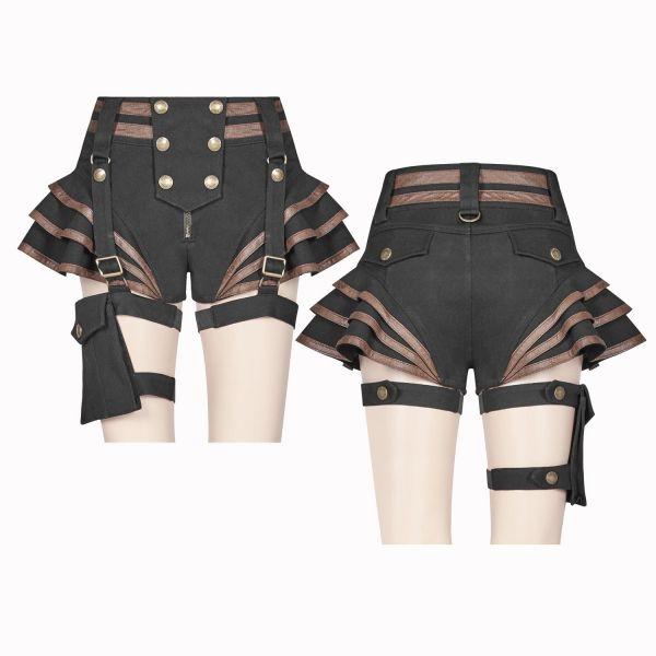 Steampunk Shorts mit Rüschenvolants und Beinholster