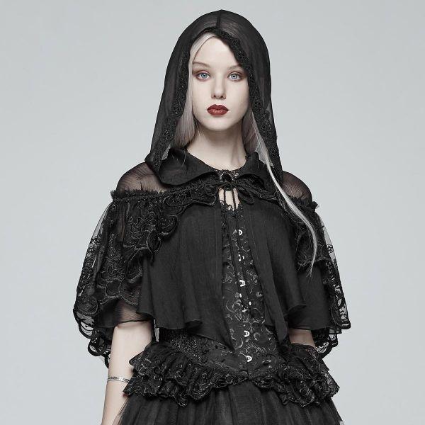 Gothic Lolita Kapuzen Cape aus Tüll mit Spitze