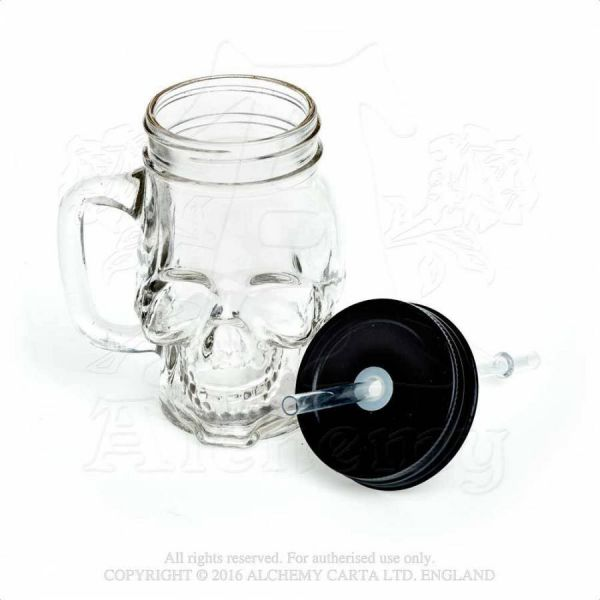 Totenkopf Glaskrug mit Deckel und Strohhalm