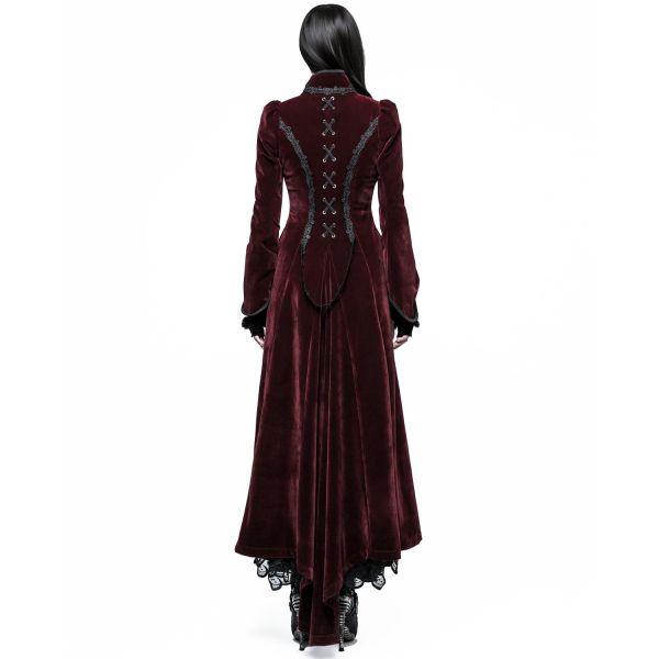 Viktorianischer Samt-Mantel weinrot mit Stehkragen