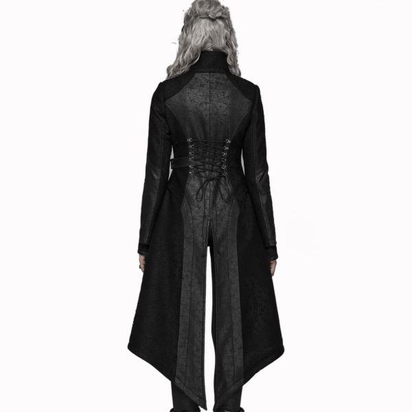 Steampunk Mantel im Harness Look mit Stehkragen