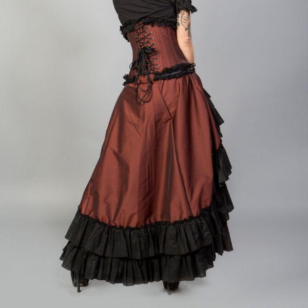 Viktorianischer Maxi Raffrock mit Rüschensaum