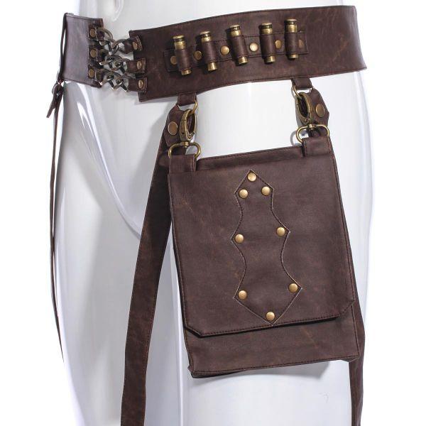 Steampunk Hüftgürtel mit Taschen und Patronenhülsen