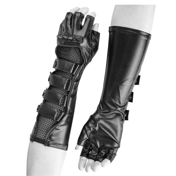 Warrior Lederimitat Armstulpen mit Spikes und Netz