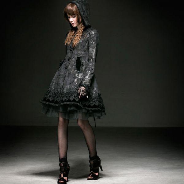 Viktorianischer Lolita Mantel mit Spitze und Kapuze