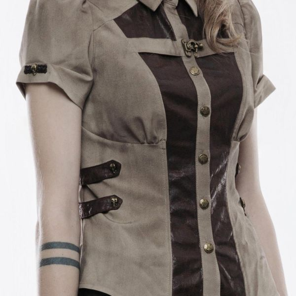 Steampunk Bluse mit Puffärmeln im Military Style