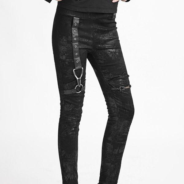 Extravagante Leggings mit Kunstleder-Riemen und Nieten