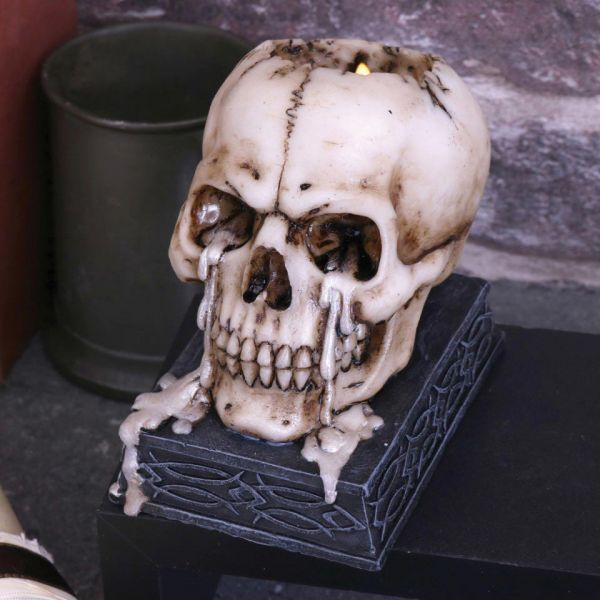 Totenschädel auf Sockel Teelichthalter - Tears of Time