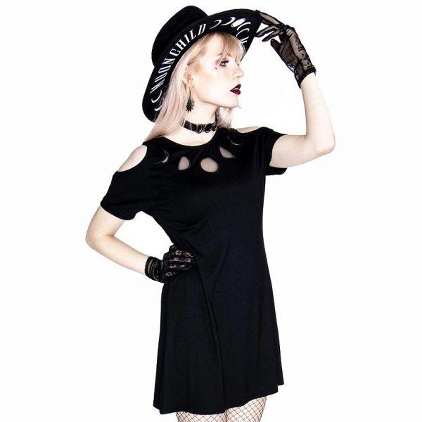 Cold Shoulder Tunica Shirt Kleid mit Mondphasen Netz