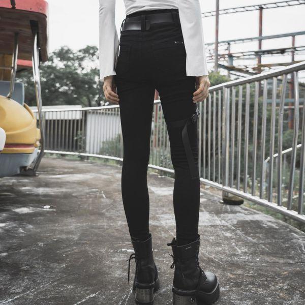 Skinny Jeans mit Beinholster und abnehmbarer Tasche