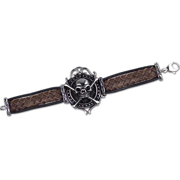 Armband in Flechtoptik mit Skullbone Ornament